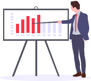 This image shows a business person giving a presentation. They are pointing to a bar chart which shows a trend going upwards.