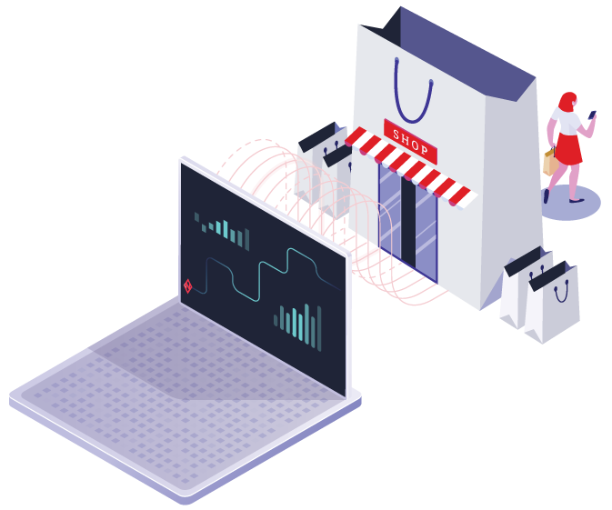 An animated image showing a laptop, a store front, and a customer