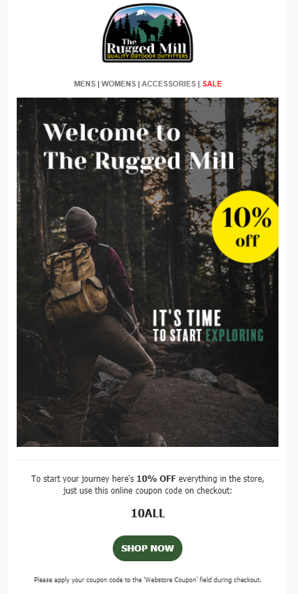 Welcome email banner showing a 10% off sticker